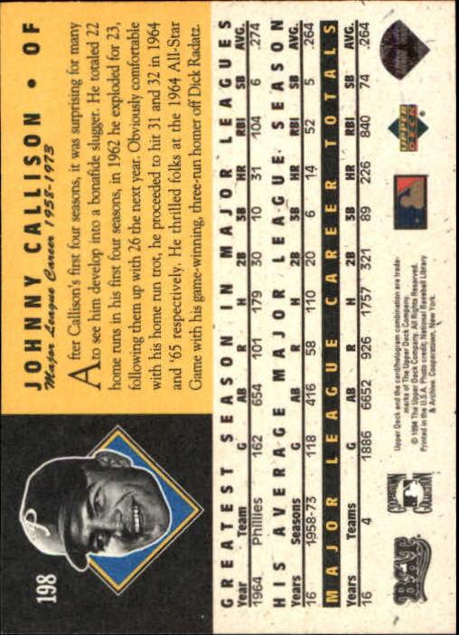 1994 Upper Deck All-Time Heroes #198 Johnny Callison back image