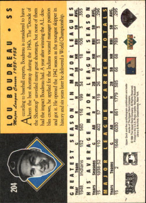 1994 Upper Deck All-Time Heroes #204 Lou Boudreau back image