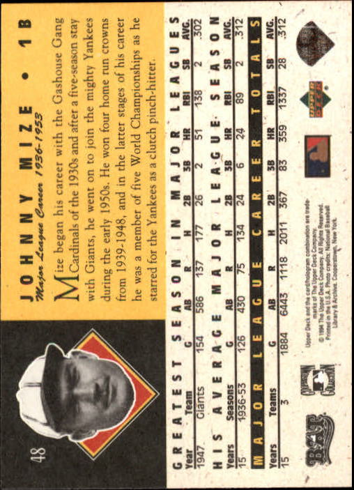 1994 Upper Deck All-Time Heroes 125th Anniversary #48 Johnny Mize back image