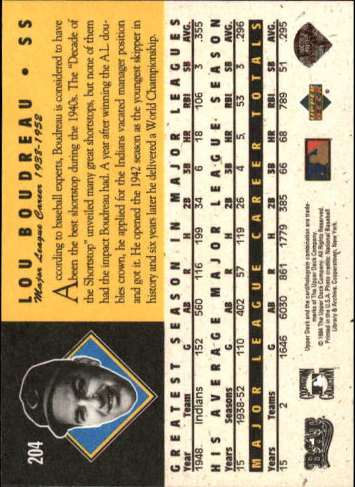 1994 Upper Deck All-Time Heroes 125th Anniversary #204 Lou Boudreau back image