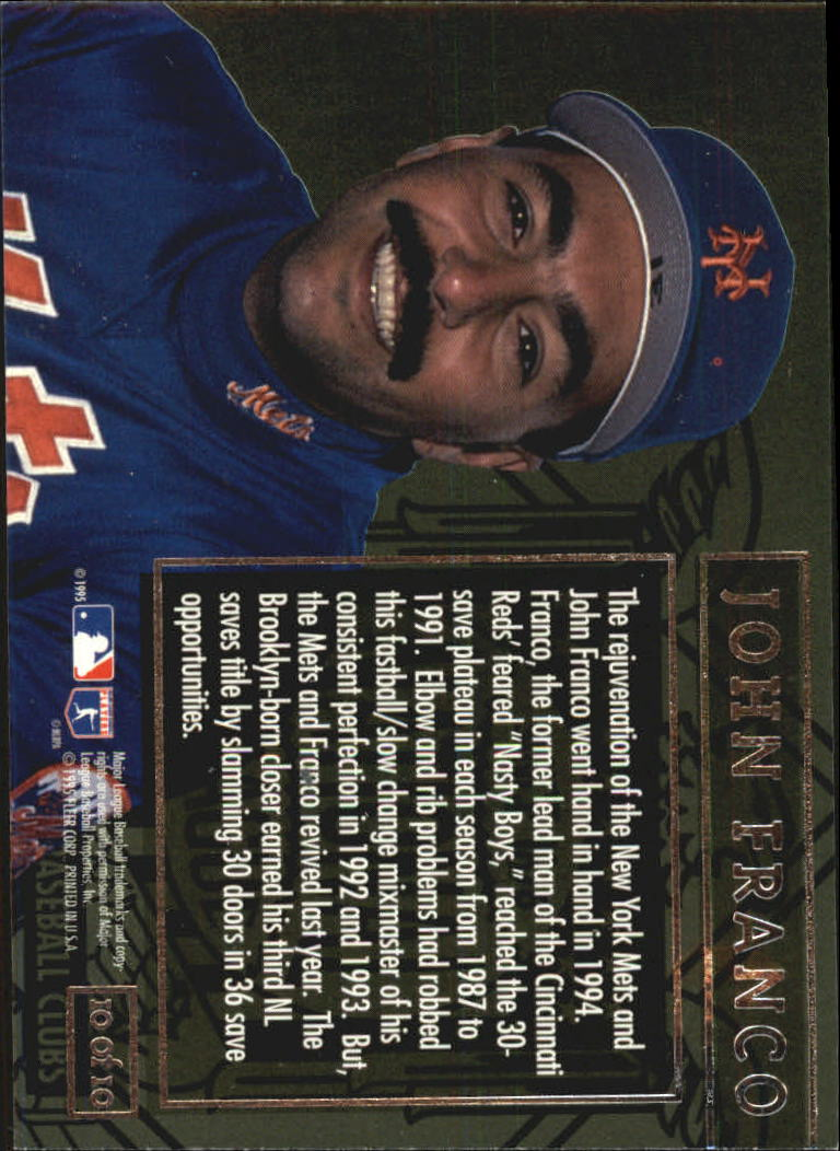 1995 Ultra League Leaders Gold Medallion #10 John Franco back image
