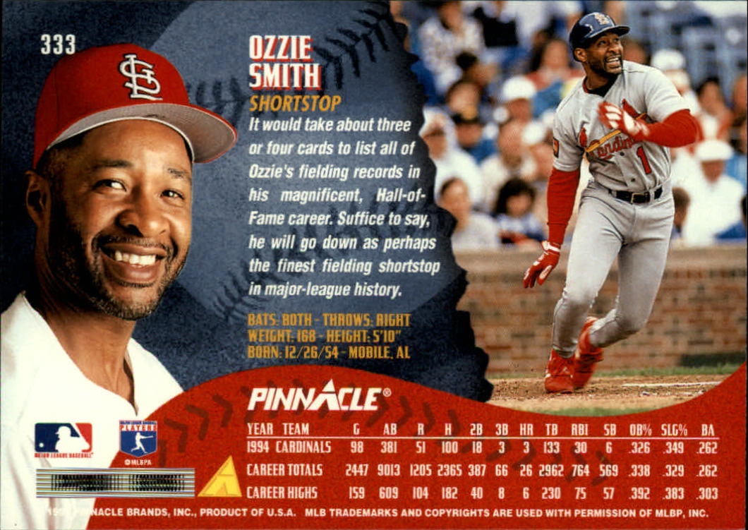 1995 Pinnacle #333 Ozzie Smith back image