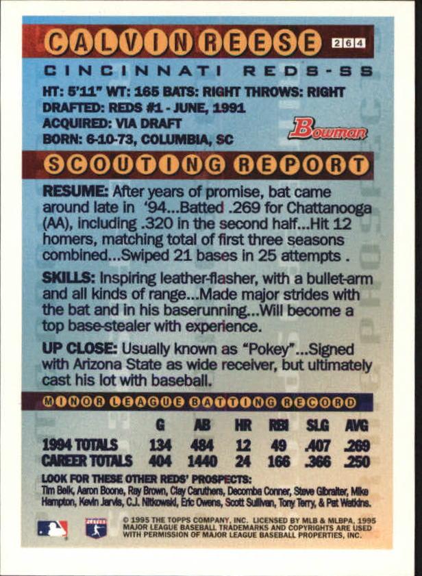 1995 Bowman #264 Pokey Reese FOIL back image