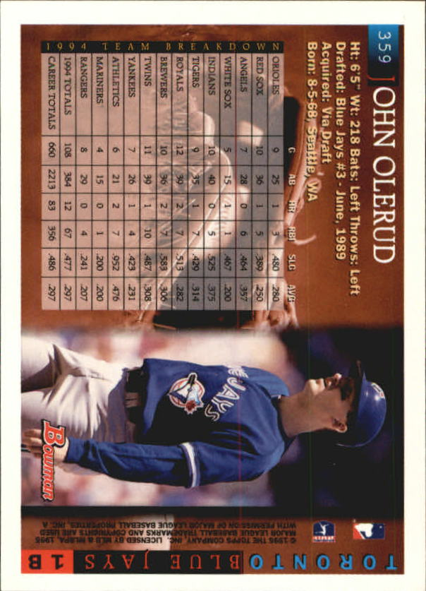 1995 Bowman #359 John Olerud back image