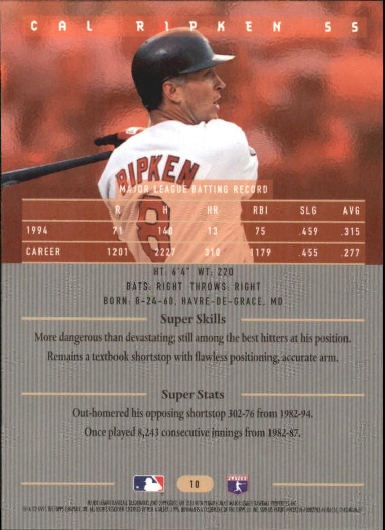 1995 Bowman's Best #R10 Cal Ripken back image