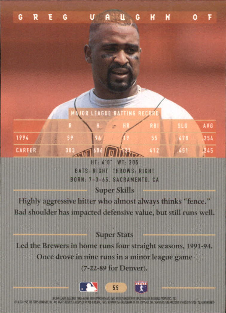 1995 Bowman's Best #R55 Greg Vaughn back image