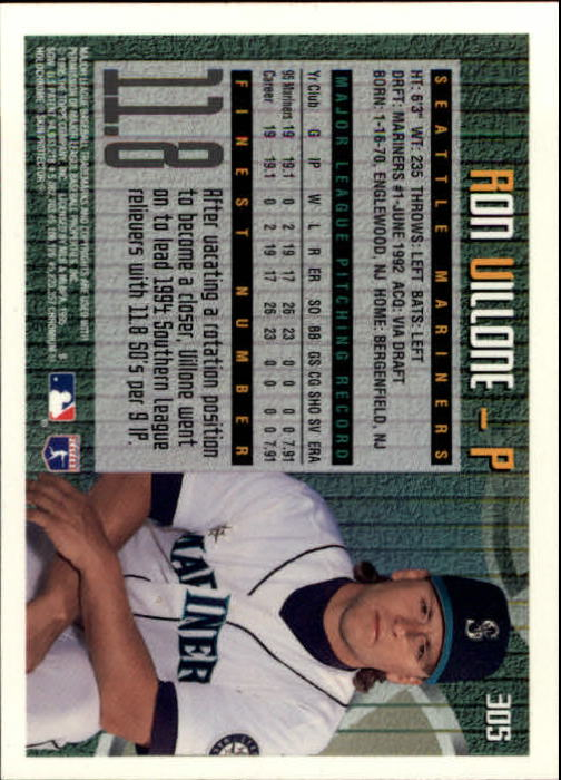1995 Finest #305 Ron Villone back image