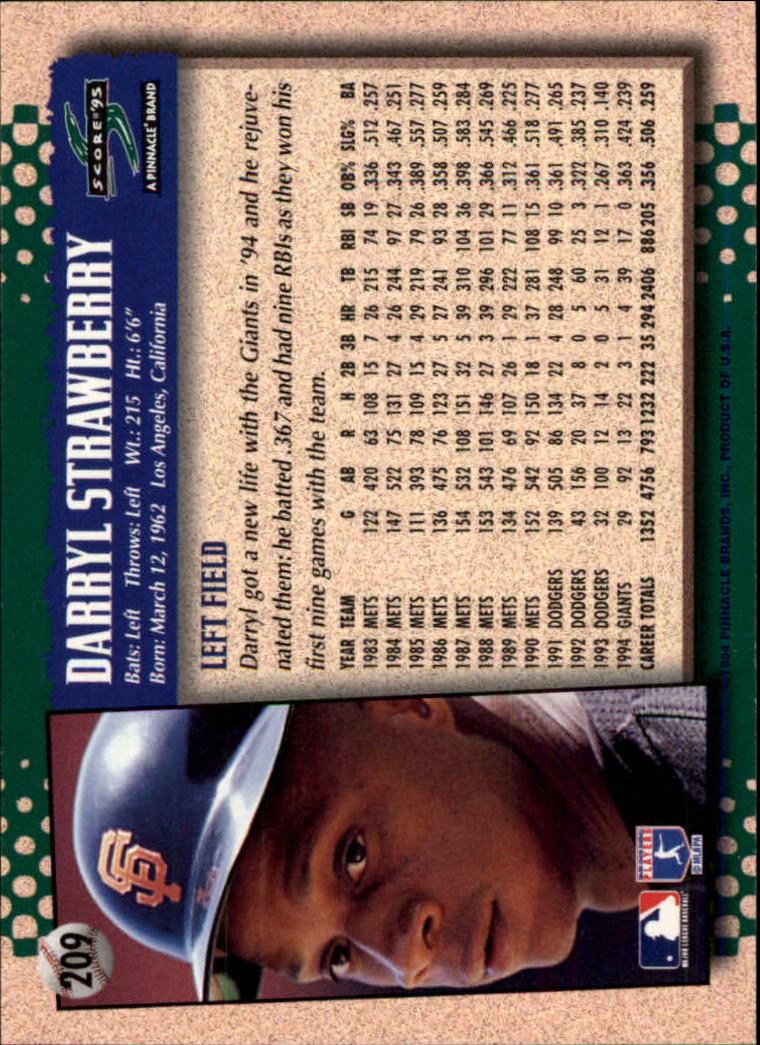 1995 Score #209 Darryl Strawberry back image