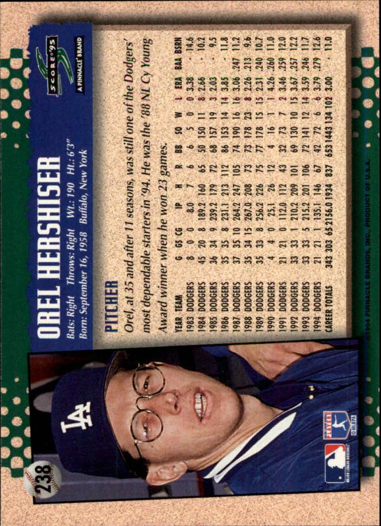 1995 Score #238 Orel Hershiser back image