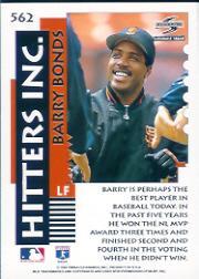 1995 Score #562 Barry Bonds HIT back image