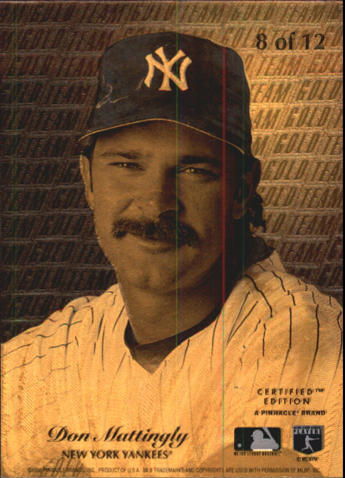 1995 Select Certified Gold Team #8 Don Mattingly back image