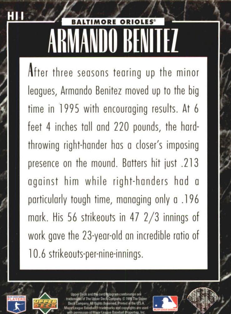 1995 Upper Deck Predictor Award Winners Exchange #H11 Armando Benitez back image