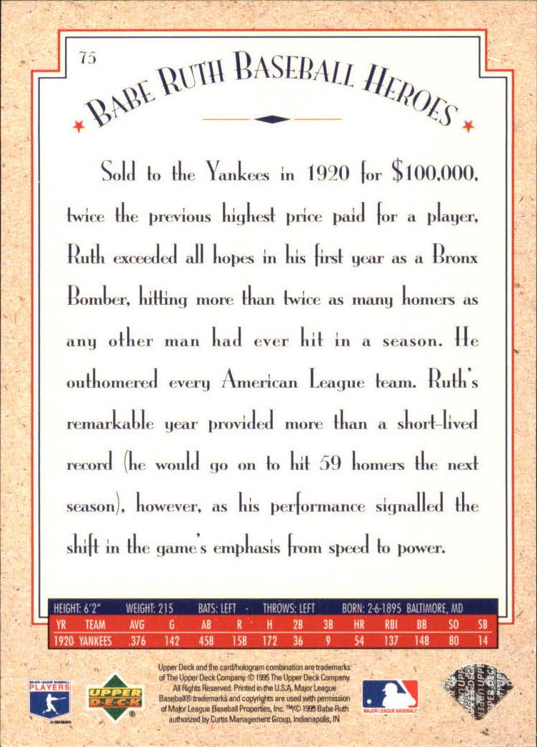 1995 Upper Deck Ruth Heroes #75 Babe Ruth/1920 Renaissance Man back image