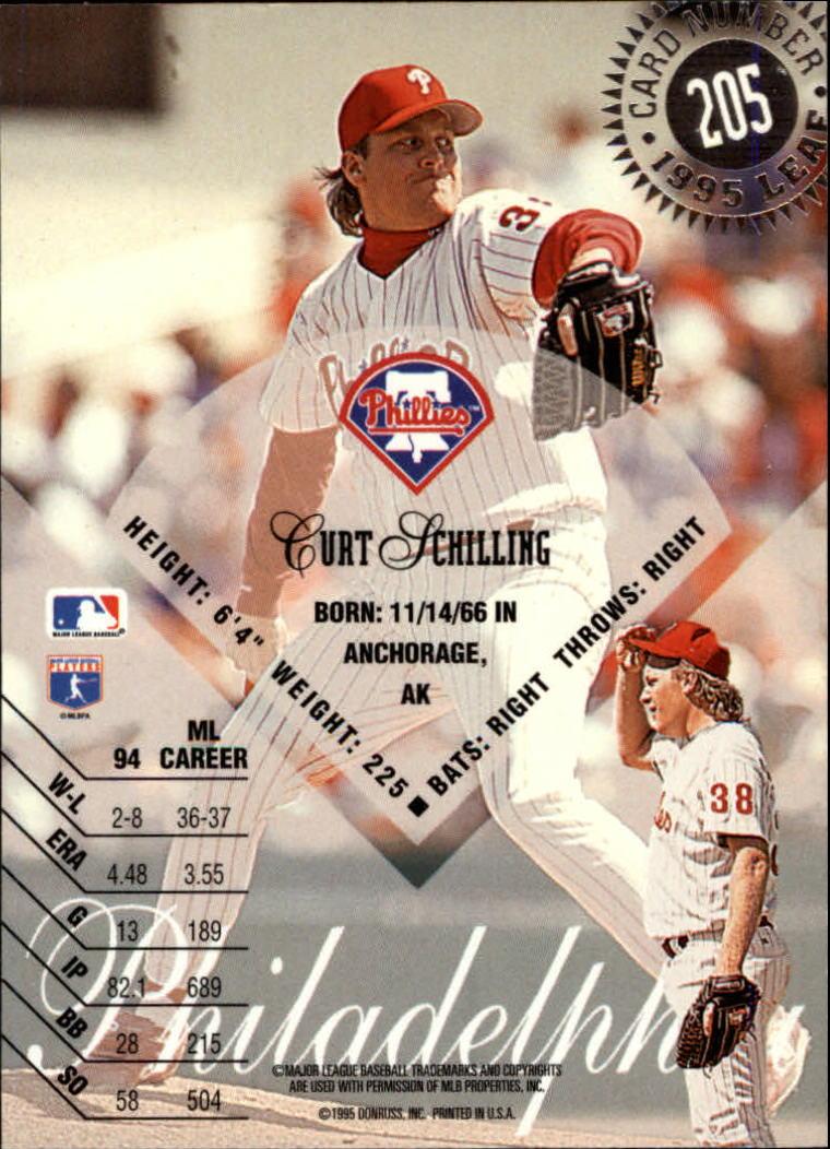 1995 Leaf #205 Curt Schilling back image