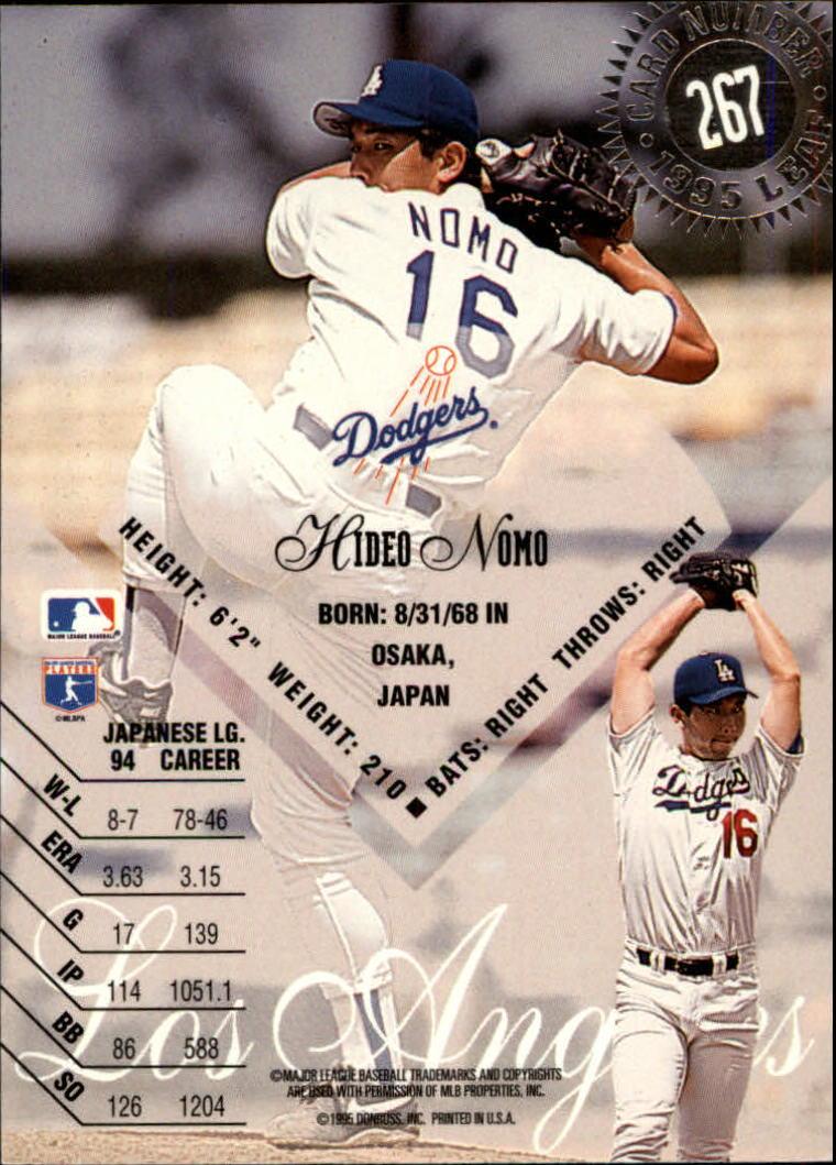 1995 Leaf #267 Hideo Nomo RC back image