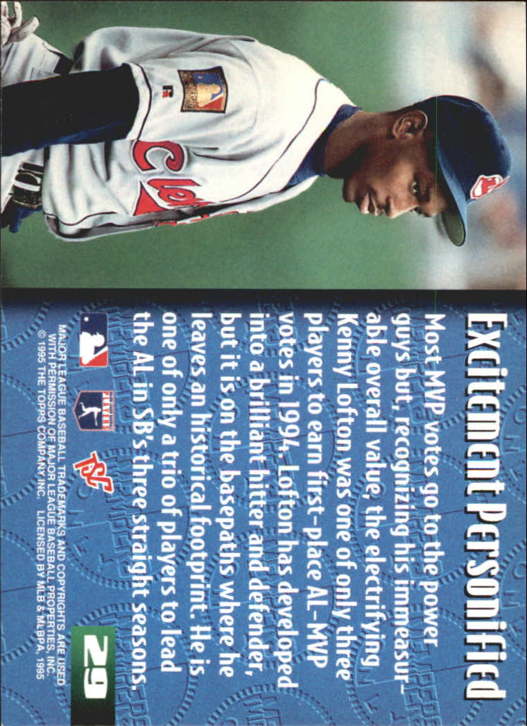 1995 Stadium Club Members Only 50 #29 Kenny Lofton back image