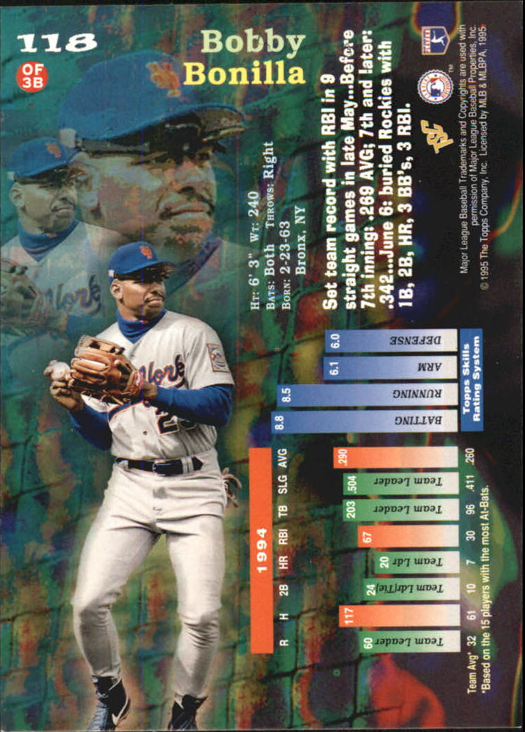 1995 Stadium Club Members Only Parallel #118 Bobby Bonilla back image