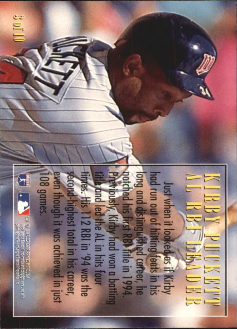 1995 Fleer League Leaders #3 Kirby Puckett back image