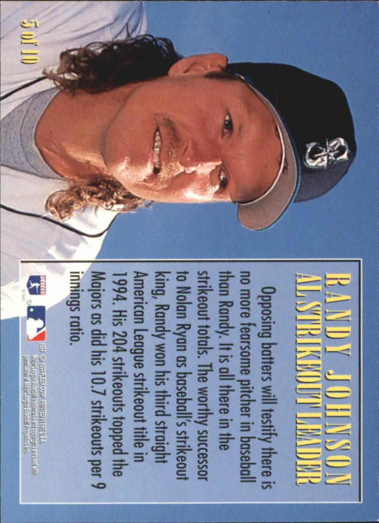 1995 Fleer League Leaders #5 Randy Johnson back image