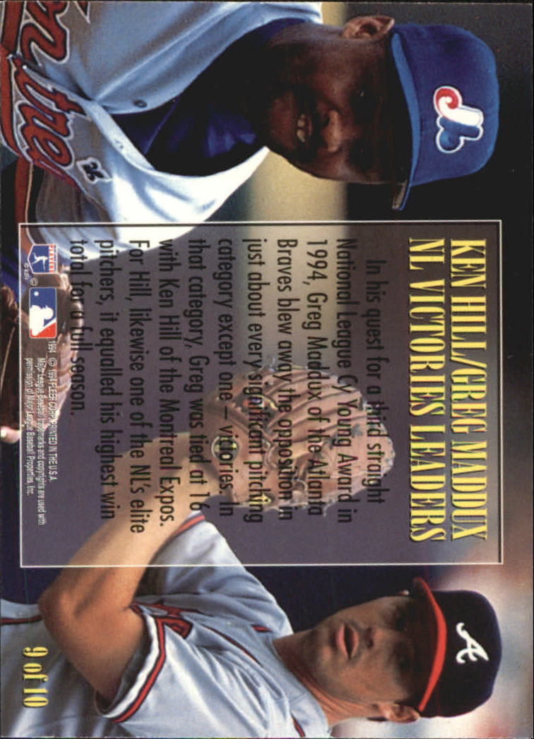 1995 Fleer League Leaders #9 G.Maddux/K.Hill back image
