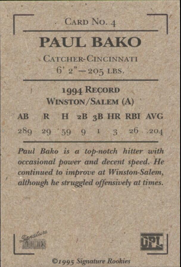 1995 Signature Rookies Old Judge Signatures #4 Paul Bako back image