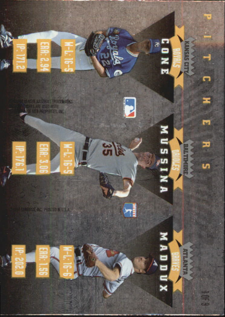 1995 Donruss Dominators #1 Maddux/Cone/Mussina back image