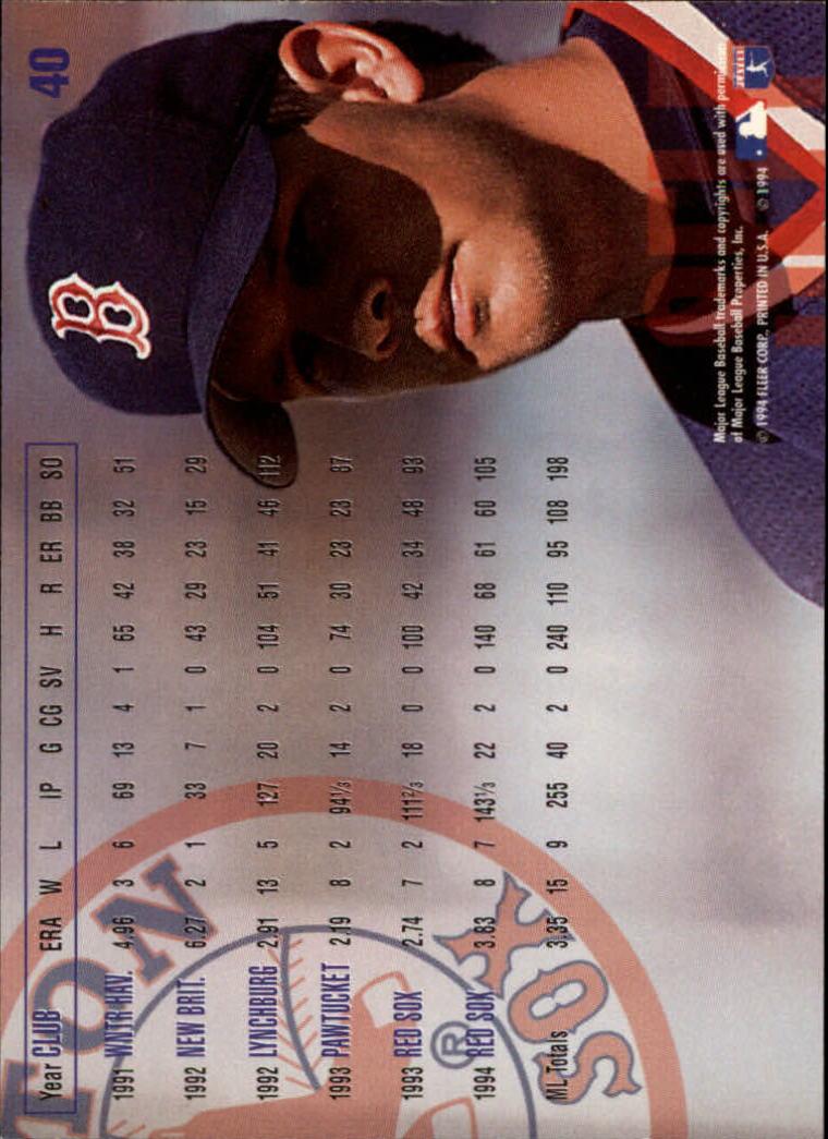 1995 Fleer #40 Aaron Sele back image