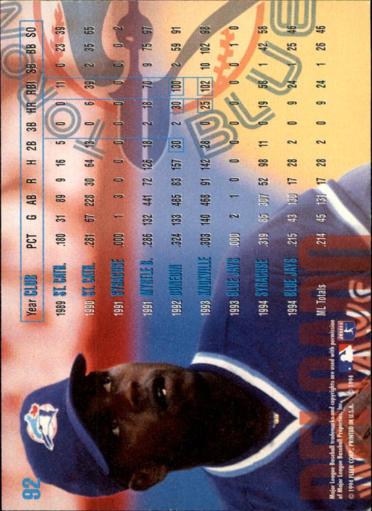 1995 Fleer #92 Carlos Delgado back image