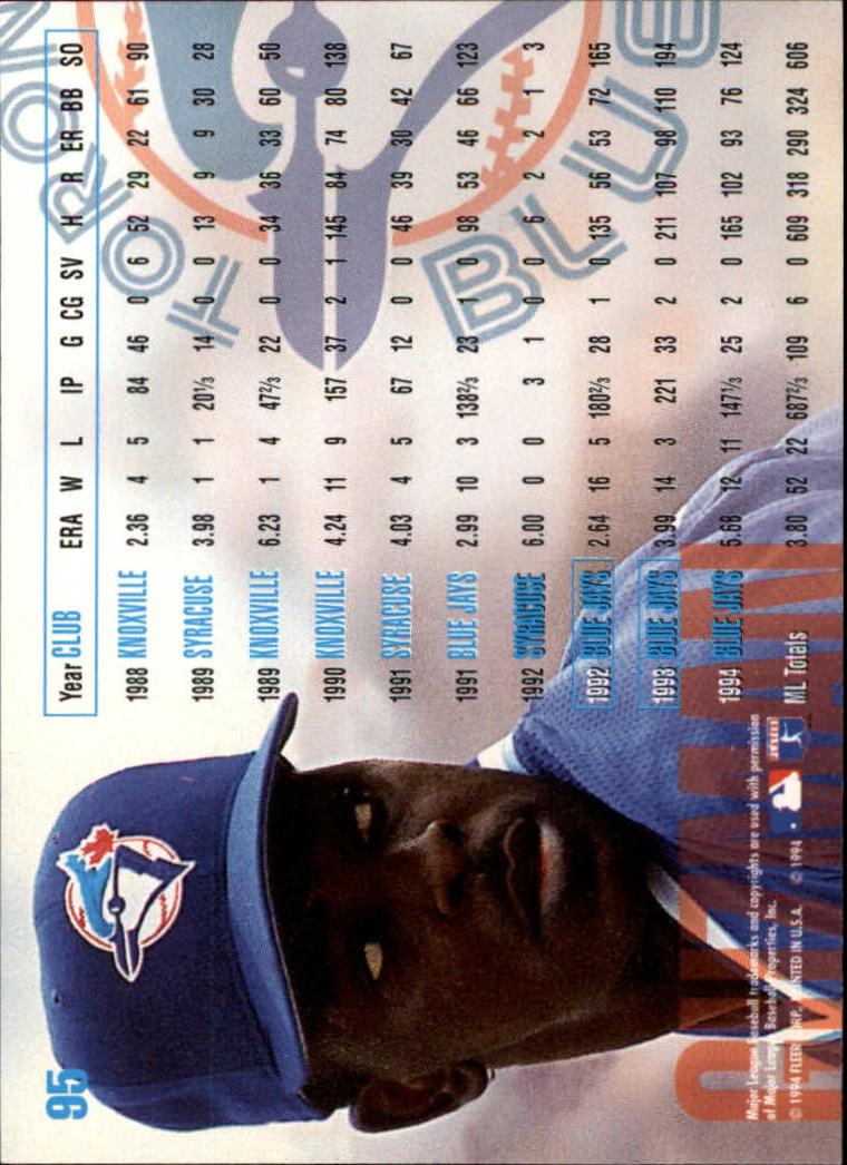 1995 Fleer #95 Juan Guzman back image