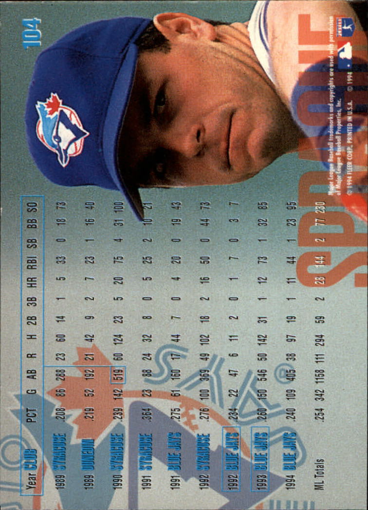 1995 Fleer #104 Ed Sprague back image