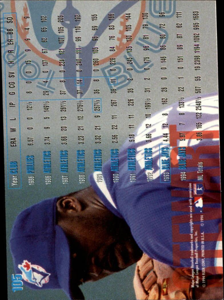 1995 Fleer #105 Dave Stewart back image