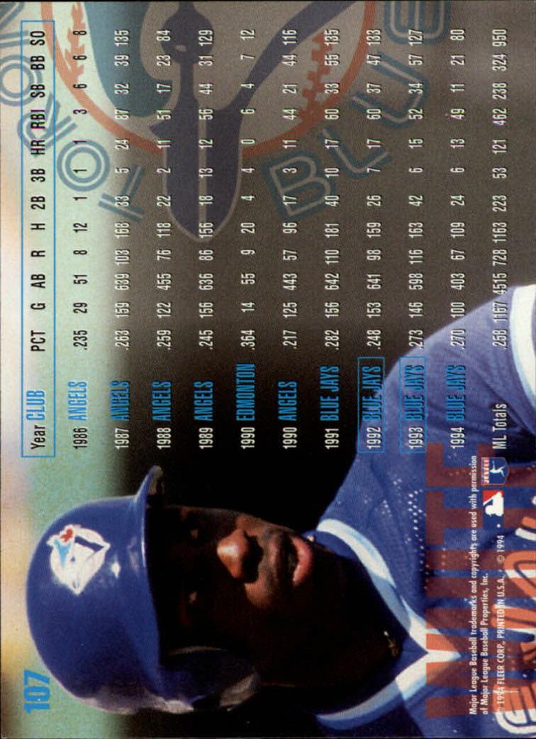1995 Fleer #107 Devon White back image