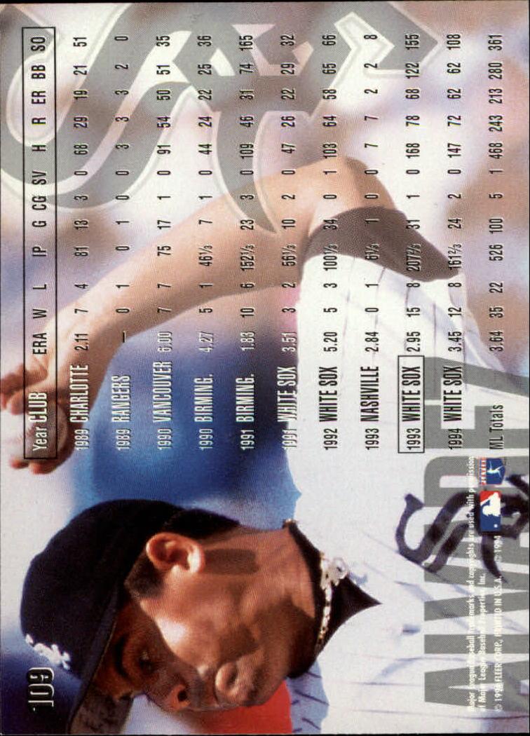 1995 Fleer #109 Wilson Alvarez back image