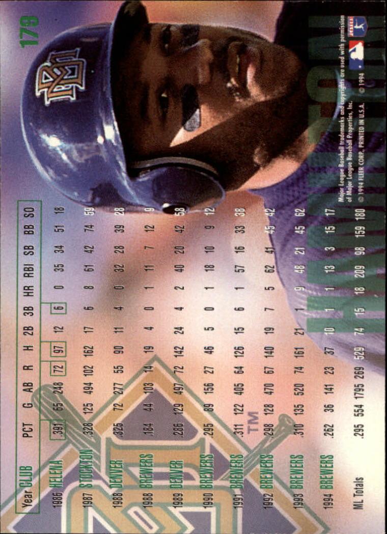 1995 Fleer #179 Darryl Hamilton back image