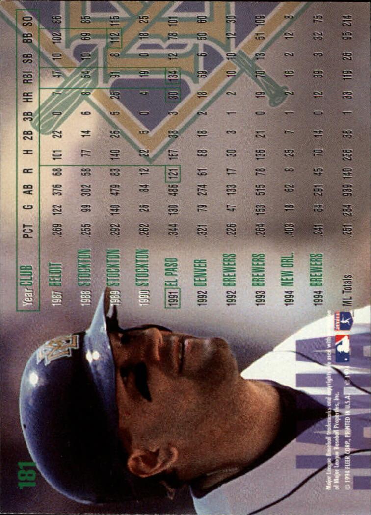 1995 Fleer #181 John Jaha back image