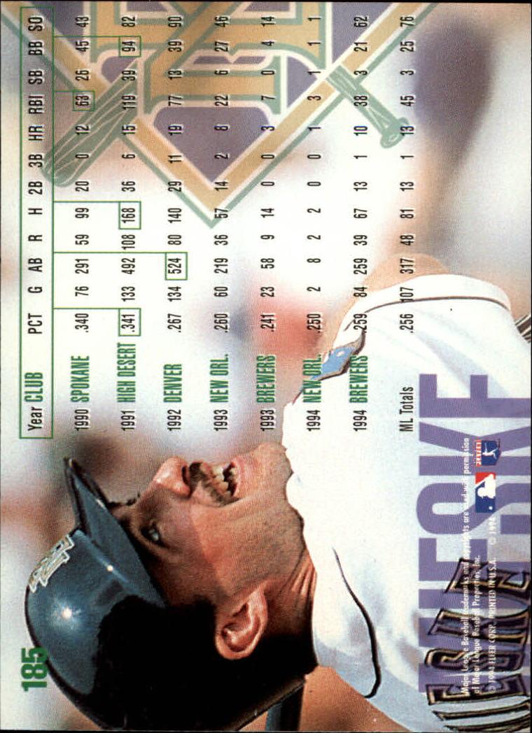 1995 Fleer #185 Matt Mieske back image