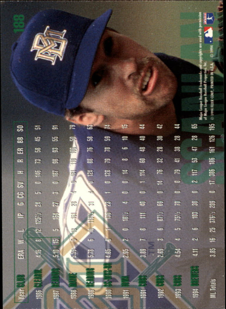 1995 Fleer #188 Bob Scanlan back image