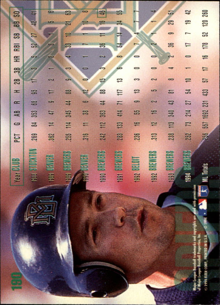 1995 Fleer #190 Bill Spiers back image