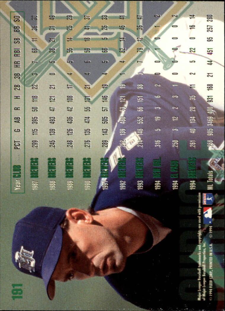 1995 Fleer #191 B.J. Surhoff back image