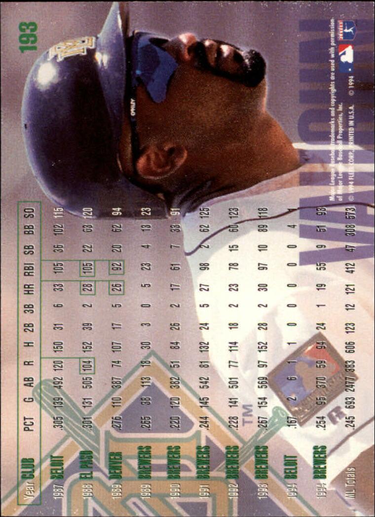 1995 Fleer #193 Greg Vaughn back image