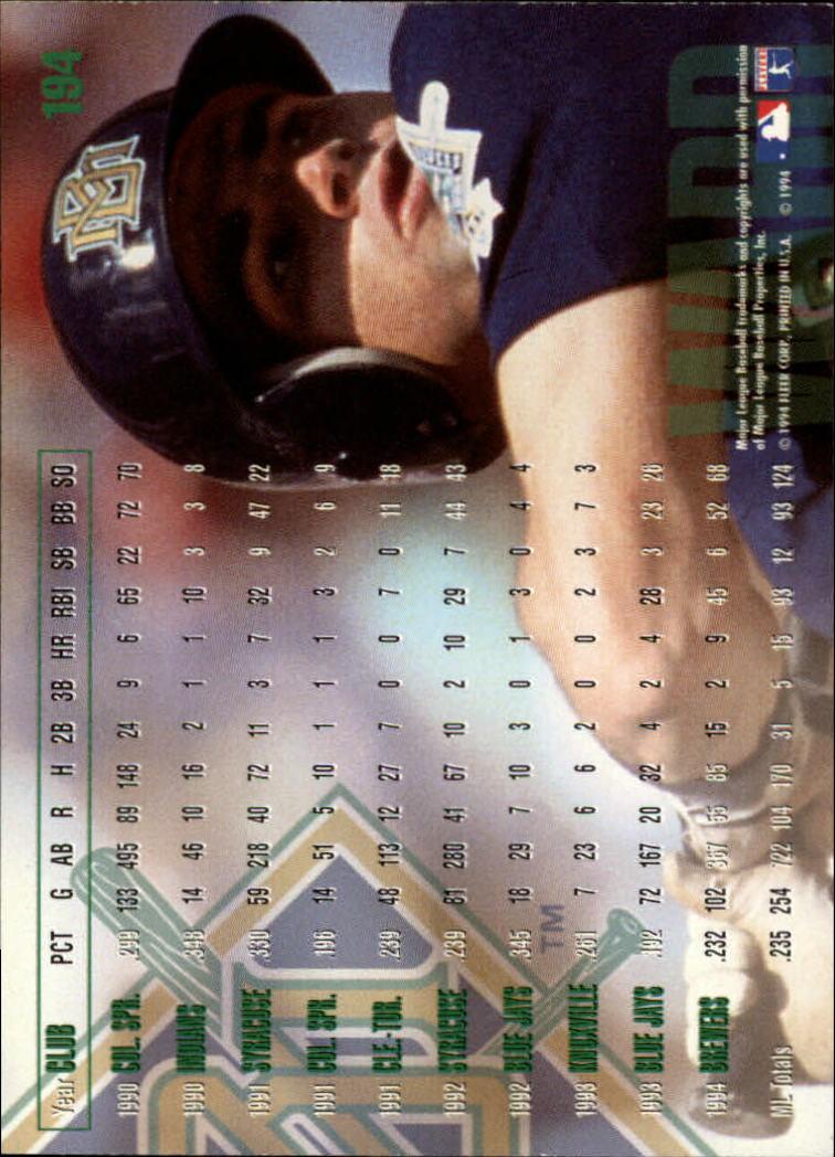 1995 Fleer #194 Turner Ward back image
