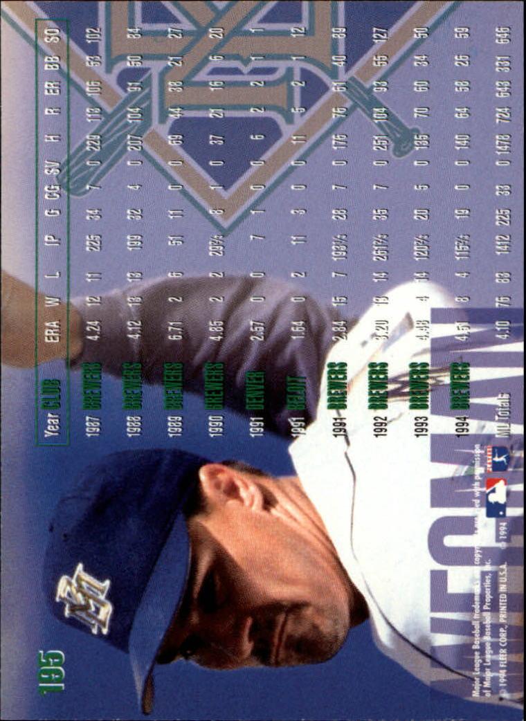 1995 Fleer #195 Bill Wegman back image