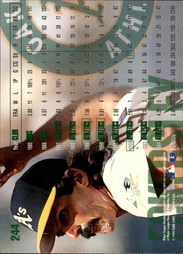 1995 Fleer #244 Dennis Eckersley back image