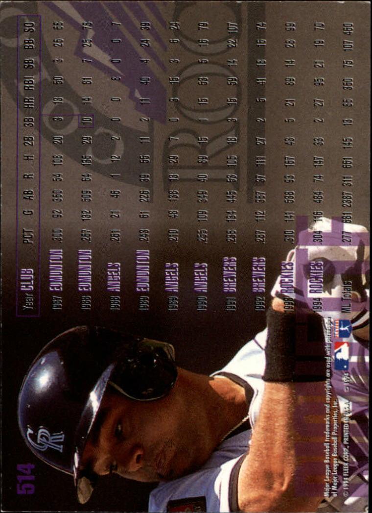1995 Fleer #514 Dante Bichette back image