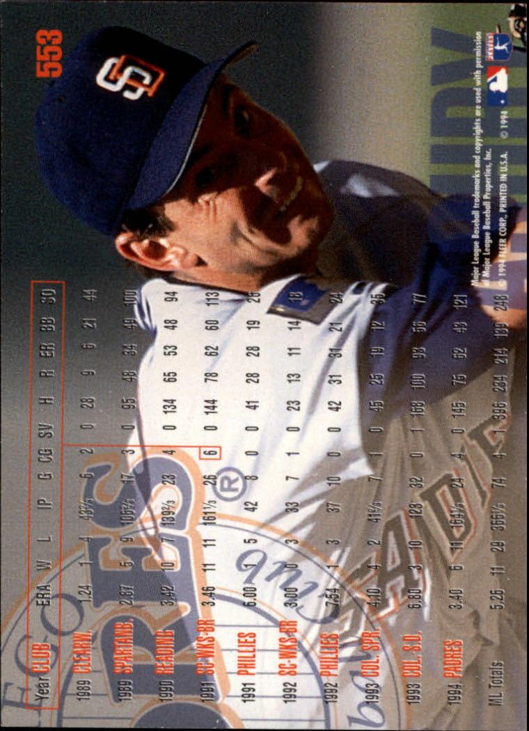 1995 Fleer #553 Andy Ashby back image