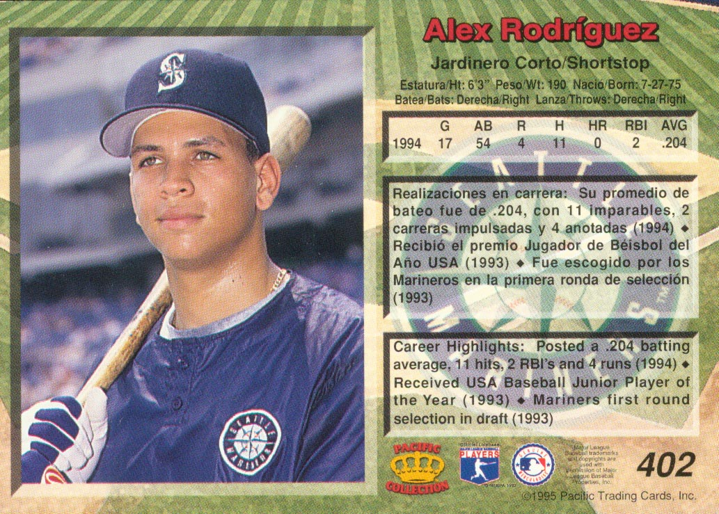 1995 Pacific #402 Alex Rodriguez back image