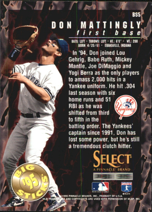 1995 Select Big Sticks #BS5 Don Mattingly back image