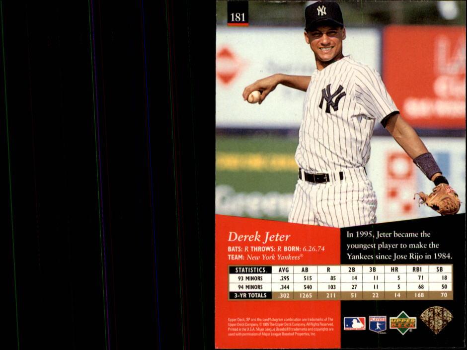 1995 SP #181 Derek Jeter back image