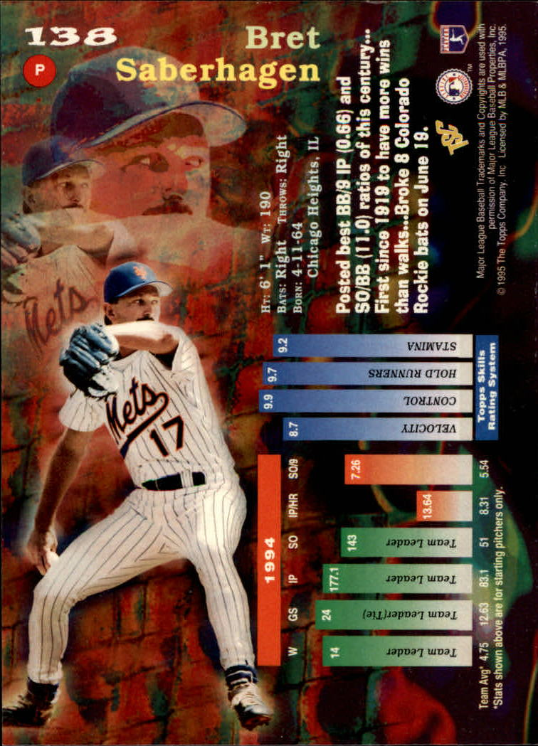 1995 Stadium Club Super Team World Series #138 Bret Saberhagen back image