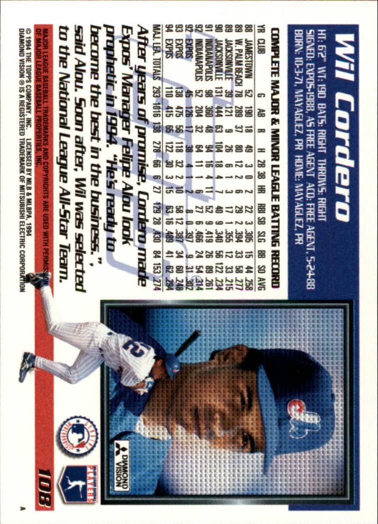 1995 Topps #108 Wil Cordero back image